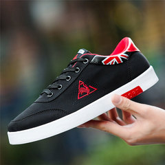 New Promotion 2019 Men Breathable Trendy British Casual Canvas Shoes Fashion Student School Shoes black & red 39