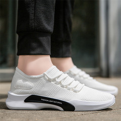 Fashion New Men Outdoor Casual Running Korean Version Fly Woven Mesh Shoes Breathable Tide Sneakers white 39