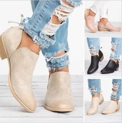 Hot Sale 1 Pair New Ladies Pointed Low-heeled Boots Women's Boots Fashion Women Shoes beige 35