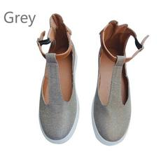 New Arrival Fashion New Ladies Shallow Mouth T Strap Buckle T-shoes Sexy Women Ballerinas Flats Shoe grey 43