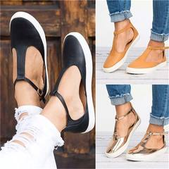 New Arrival Fashion New Ladies Shallow Mouth T Strap Buckle T-shoes Sexy Women Ballerinas Flats Shoe black 35