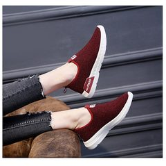 New Arrival 2019 Spring Summer Women Shoes Breathable Sport Shoes Ladies Shoes Non Shoelace Sneakers red 36
