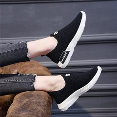 New Arrival 2019 Spring Summer Women Shoes Breathable Sport Shoes Ladies Shoes Non Shoelace Sneakers black 40