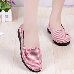 1 Pair Leisure Shallow Mouth Canvas Women Shoes Old Beijing Breathable Cloth Shoes Soft-soled Shoes red 41