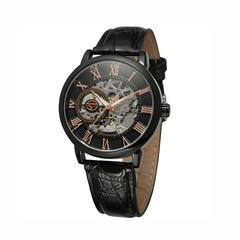 New High Quality Men's Watch 3D Hollow Engraving Case Roman Number Skeleton Dial Mechanical Watches A