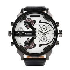 Oulm Big Dial Quartz Watch Multiple Time Zone Watches Men Luxury Watches Man Military Wrist Watch D