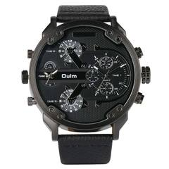 Oulm Big Dial Quartz Watch Multiple Time Zone Watches Men Luxury Watches Man Military Wrist Watch B