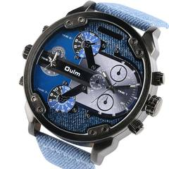 Oulm Big Dial Quartz Watch Multiple Time Zone Watches Men Luxury Watches Man Military Wrist Watch A
