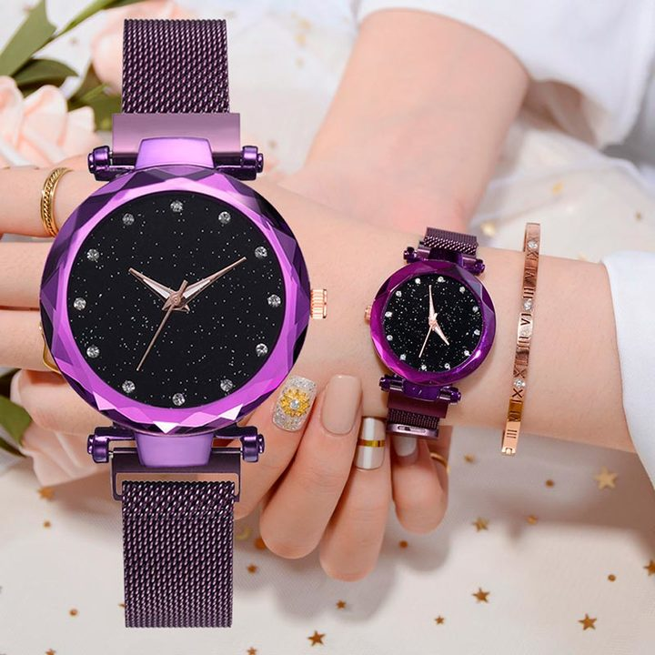 11264f54c Luxury Women Watches Ladies Magnetic Starry Sky Clock Fashion Diamond Female  Quartz Wristwatches purple