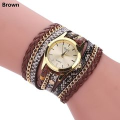 1PCS Fashion Luxury Women Watches Style Fashion Weave Leather Ladies Bracelet Wrist Watch brown