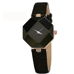 Women Watch Gem Geometry Crystal Quartz Watch Leather Wristwatch Fashion Dress Watch Ladies Watches black