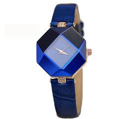 Women Watch Gem Geometry Crystal Quartz Watch Leather Wristwatch Fashion Dress Watch Ladies Watches blue
