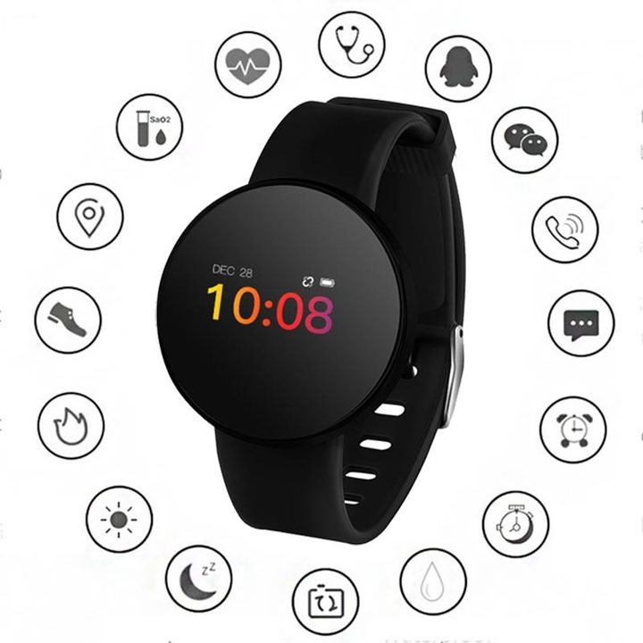 Heart Rate Monitor Smart Watch Women Men Waterproof Fitness Blood Pressure Pedometer Sports Watches black one size