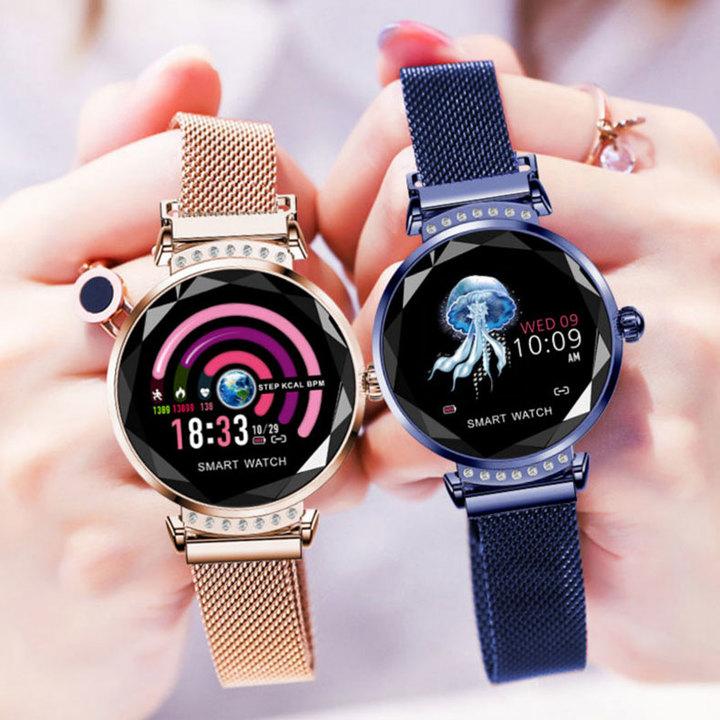 1PCS Fashion Smart Watch Women 3D Diamond Glass Heart Rate Blood Pressure Sleep Monitor Smartwatch rose gold one size