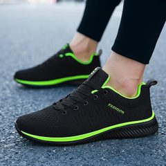 2019 New Comfortable Mesh Men Shoes Casual Lightweight Breathable Walking Male Sneakers Sport Shoes green & black 38