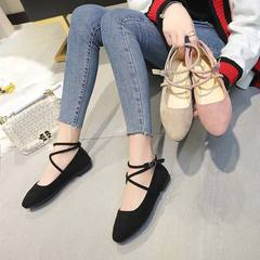 2019 Hot Sale Shoes Flock PU Material Low Square Heels Ankle Strap All Match Style Ladies Shoes black 35