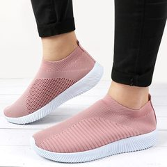 Fashion Knitted Women Shoes Ladies Comfortable Footwear Slip On Sock Casual Flats Shoes Female Shoes pink 35