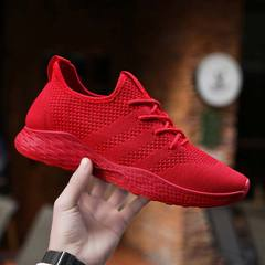 Men Casual Fly Knit Breathable Shoes 2019 Spring Autumn Men Shoes Mesh Slip On Loafers Sneaker Flats red 46
