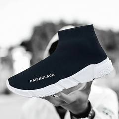 High-top Knitted Wool Flat-soled Shoes Men Women Stretch Socks Shoes Hip-hop Casual Shoes black 36