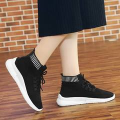 New Women Knitted Stretch Socks Shoes Female Flying Woven High-top Shoes Socking Shoes Sneakers black 36