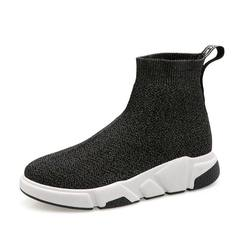 Women Knitted Elastic Socks Shoes Female High Top Shoes Breathable Hip-pop Shoes Ladies Shoes silver black 36