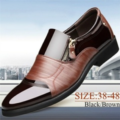 New Arrival Hot Arken Men Formal Leather Shoes Loafers Oxford Shoes Male Pointed Toe Wedding Shoes brown 38