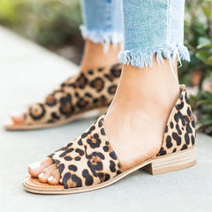 Hot New 2019 Summer Women Sandals Leopard Print Peep Toe Shoes Ladies Soft Leather Flat Shoes brown 35