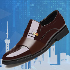 New Promotion Men Leather Formal Shoes Pointed Leather Shoes Men Wedding Shoes Work Shoes for Men brown 38