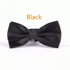 Men's Solid Butterfly Bow Ties For Audlt Women's Double Deck Smooth Bowties Young Adjustable Length black