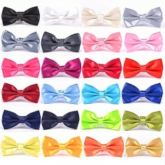 Men's Solid Butterfly Bow Ties For Audlt Women's Double Deck Smooth Bowties Young Adjustable Length fruit green