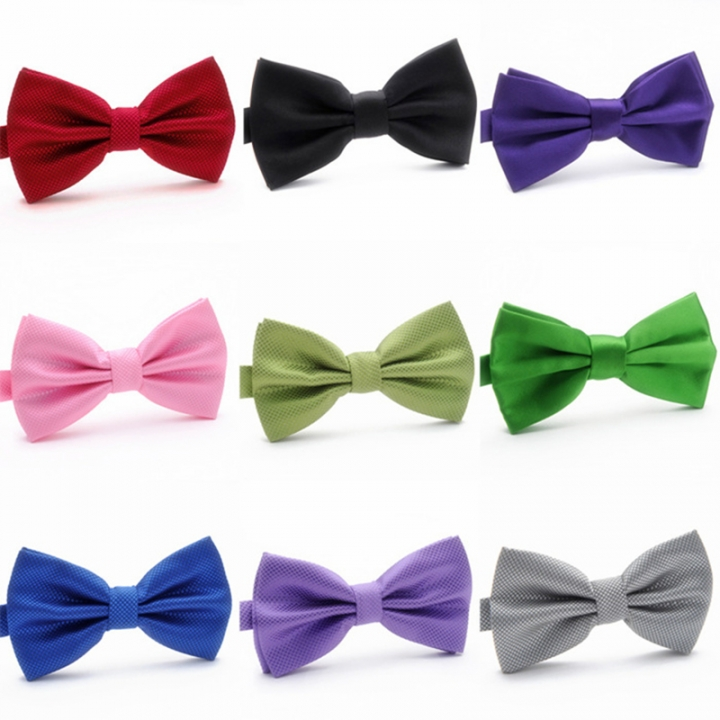 Men's Solid Plaid Bow Ties Fashion For Adult Women's Family Entertainment Adjustable Length Neckties black