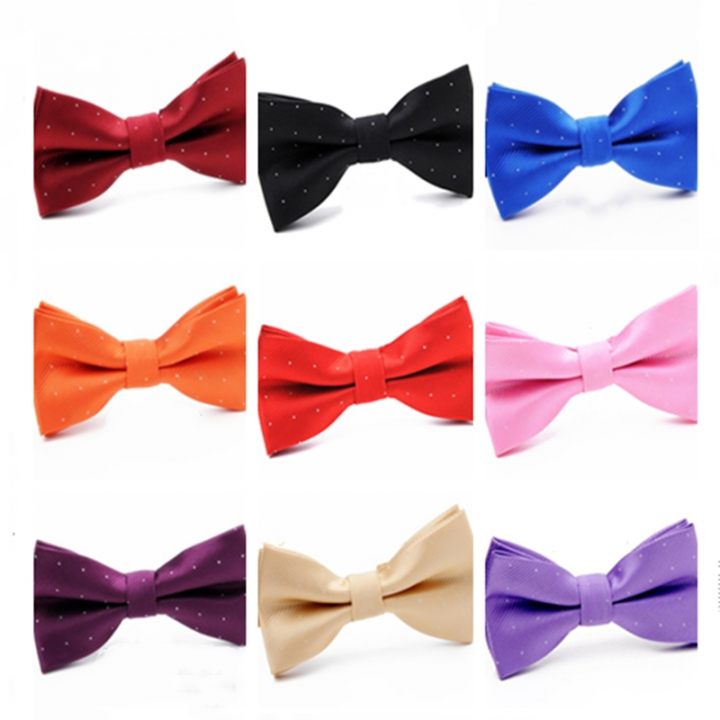 Men's Solid Bow Ties Double Deck Striped Dot For Adult Family Young Entertainment Performance black