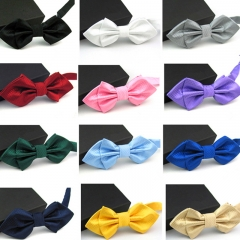 Avtive Style Justcan Hot Sale Men's Solid Plaid Tip Bow Ties For Young Girl's One Colour Small Ties black