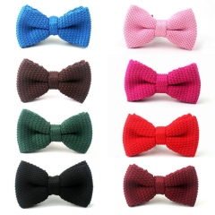 Fashion Men's Solid Colour Knitting Bow Ties For Young Girl's One Piece Small Knitted Bowties reddish brown