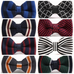 Fashion Men's Butterfly Knitting Bow Ties Adjustable Length Collar Isignina Striped Knitted Bowties b10