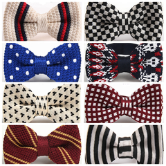 Fashion Men's Butterfly Double Deck Knitting Bow Ties Adjustable Length Striped Dot Knitted Bowties d10