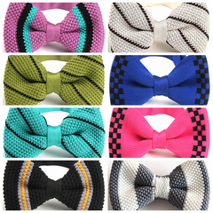 Fashion Men's Double Deck Knitting Bow Ties Adjustable Length Striped Dot Flower Knitted Bowties h5