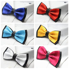 Fashion Men's Solid Colour Butterfly Bow Ties For Audlt Double Deck Black Underside Smooth Bowties black