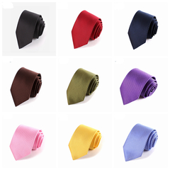 Fashion Accessories Men's Slim Solid Colour Neckties For Adult Hand Make Office Lady Striped Ties black