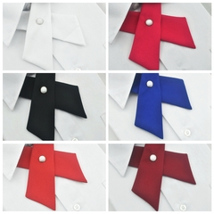 Fashion Men's Solid Colour Clip Button Small Bow Ties For Adult Collar Narrow Cross Bowties rose red