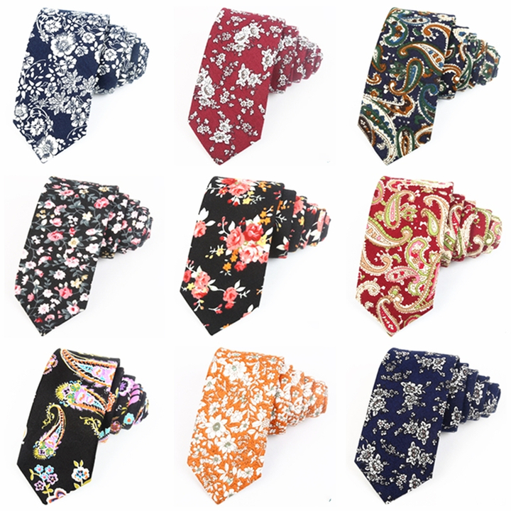 Fashion Men's Slim Floral Printing Neckties Party Girl's Narrow Small Cotton Neck Ties For Adult a1