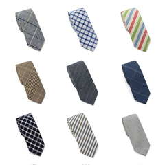 Fashion Men's Slim Striped Neckties Checker Cloth Girl's Narrow Small Cotton Neck Ties For Adult a1
