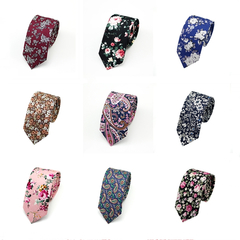 Fashion Men's Slim Floral Printing Neckties Girl's Narrow Small Cotton Neck Ties handmade For Adult a7