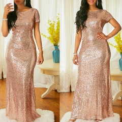 Women's Bling Sparkle Short Sleeve Dress Party Evening Gown Gold M