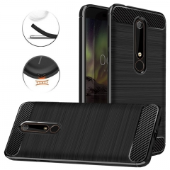 Shinwo Nokia 6.1 / Nokia 6 (2018) Smartphone Case Carbon Fiber Soft TPU Shockproof Phone Case Black for Nokia 6.1 / Nokia 6  (2018)