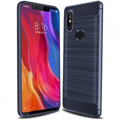 Xiaomi Mi Mix 2S Smartphone Case Textured Carbon Fiber Soft TPU Shockproof Protective Case blue for Xiaomi Mi Mix 2S Smartphone