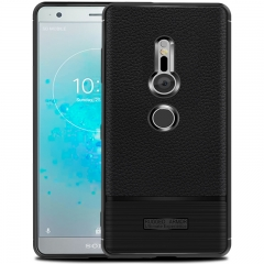 Shinwo Sony Xperia XZ2 Case Litchi Pattern Leather Shockproof Soft TPU Phone Case black for Sony Xperia XZ2