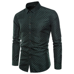 High Quality Spring Autumn Men's Slim Fit Long-sleeved Shirts - [1-Pack] Green 2xl