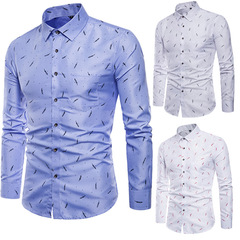 High Quality Spring Autumn Men's Slim Fit Long-sleeved Shirts - [1-Pack] colour3 m