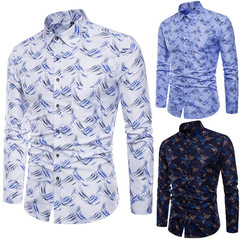 High Quality Spring Autumn Men's Slim Fit Long-sleeved Shirts dark blue m